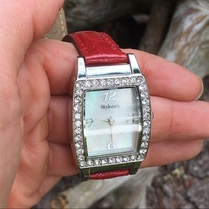 Style & Co Accessories - Style & Co. Red/Silver Tone Gemmed Fashion Watch